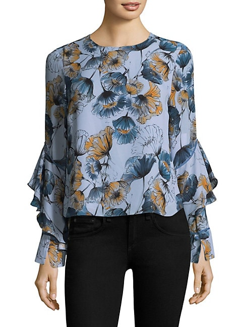 Prose & Poetry SHANNON DIAGONAL RUFFLED TOP