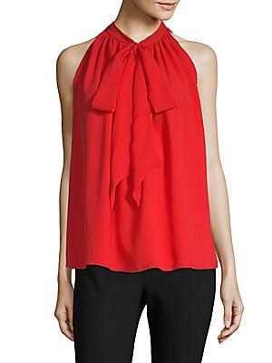 Self-Tie Silk Blouse
