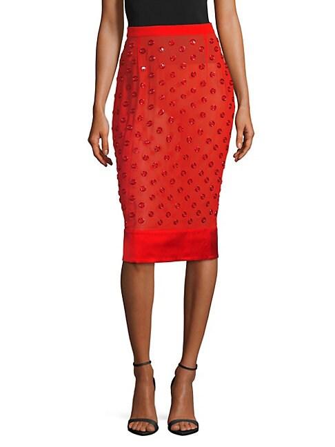 Grommet Silk Knee-Length Skirt