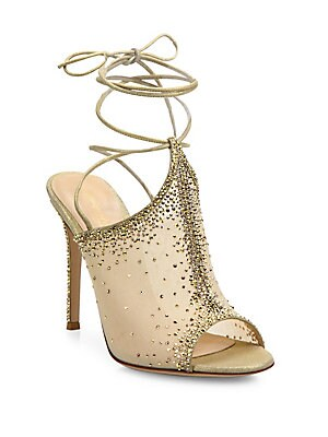 d000a9b972f6 Gianvito Rossi - Etoile Crystal Emellished Ankle-Wrap Sandals