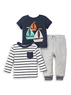 Little Me - Baby Boy's Three-Piece Sailboat Cotton Tee, Jacket and Pants