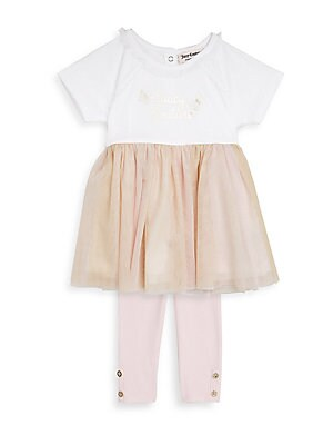 BABY GIRL'S TWO-PIECE DRESS AND LEGGINGS SET