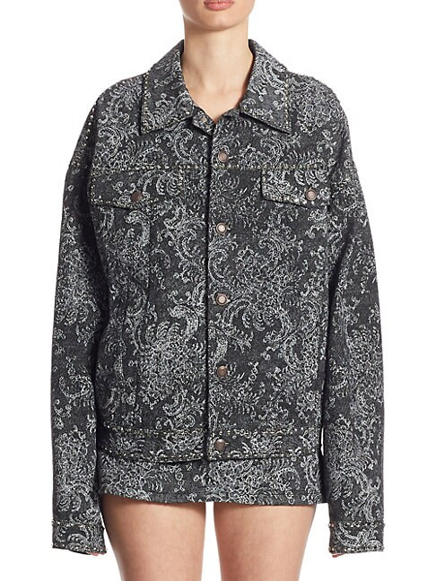 Studded Oversized Lace Cotton Jacket