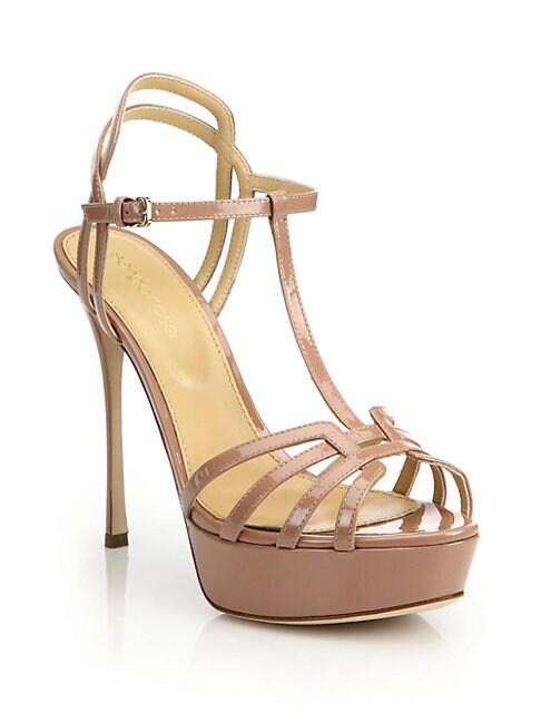Ines Patent T-Strap Platform Sandals