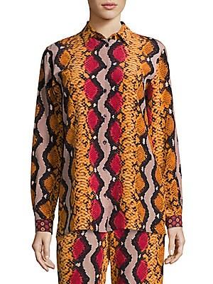 Snake-Print Silk Shirt
