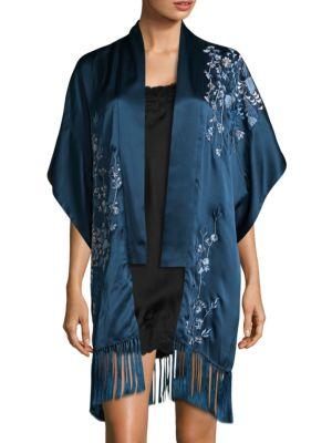 Natori Embroidered Silk Cardigan