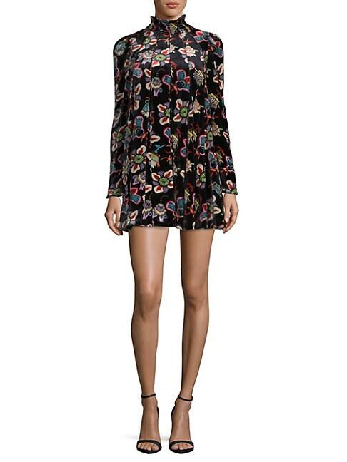 Pop Floral Velvet Dress