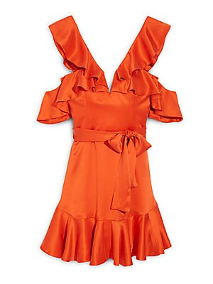 Ruffle Silk Mini Dress