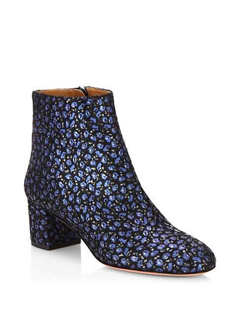 Brooklyn Floral-Print Suede Booties