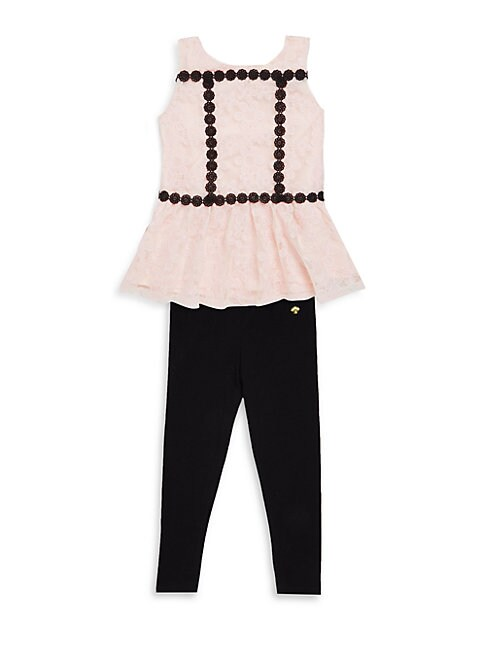 Kate Spade LITTLE GIRL'S TWO-PIECE PEPLUM TOP AND LEGGINGS SET