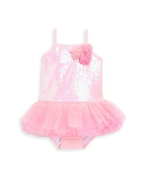 Little Girl's One-Piece Sequin Tank Tutu Swimsuit