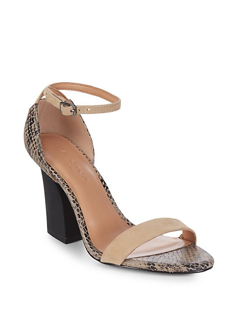 Leather Snake-Print Block-Heels