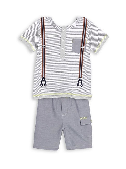 BABY'S TWO-PIECE COTTON STRIPED TOP AND SHORTS SET