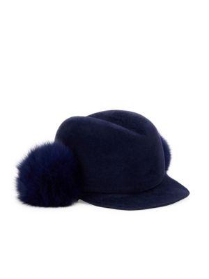 Lola Hats Dyed Fox Fur Pom & Velour Felt Door Knob Cap