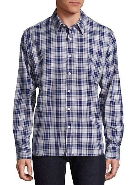 THE BLUE SHIRT SHOP 73Rd & Park Plaid Button-Down Shirt in Blue Grey Plaid