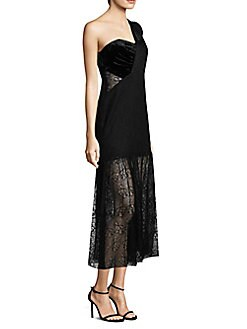 Three Floor - One-Shoulder Lace Gown