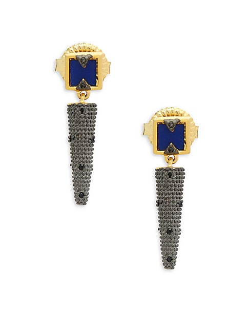Modern Mosaic Lapis Drop Earrings
