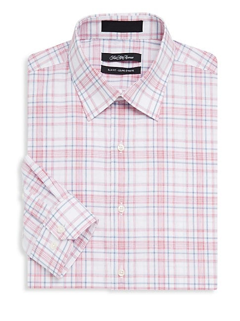Cotton Plaid Dress Shirt