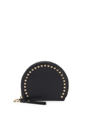 Elyna Domed Leather Coin Purse in Graphite