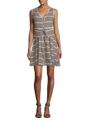 Striper Transformer Cotton Dress, White