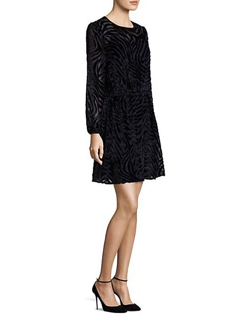 Tiger Print Velvet Dress