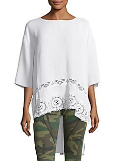 Peserico - High-Low Crepe Lace Top