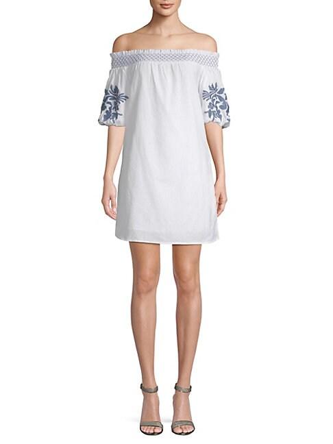 BEACH LUNCH LOUNGE | Off-The-Shoulder Cotton Shift Dress | Goxip