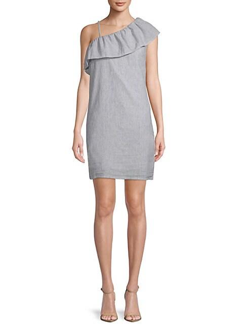 BEACH LUNCH LOUNGE | Pinstripe One-Shoulder Dress | Goxip