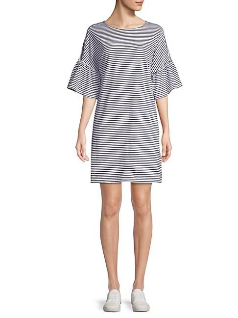 BEACH LUNCH LOUNGE | Stripe Bell-Sleeve Cotton T-Shirt Dress | Goxip