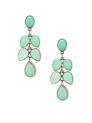 Champagne Diamond, Chrysoprase & Sterling Silver Drop Earrings