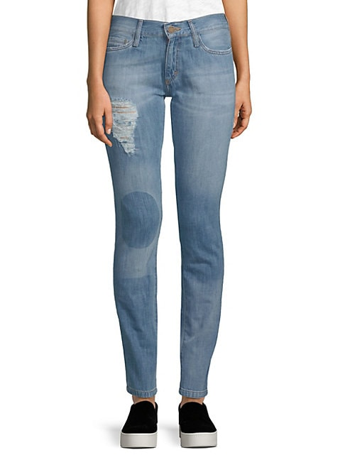 ETIENNE MARCEL   Distressed Cotton Skinny Jeans   Goxip
