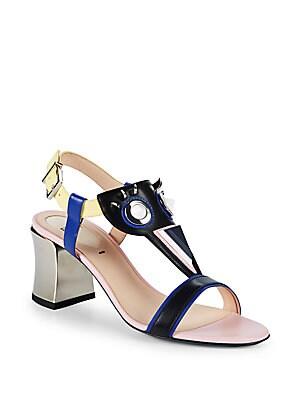 Leather & Metal Block Heel Sandals