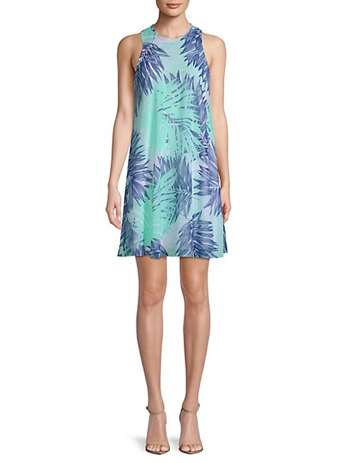 Botanical-Print Mini Dress