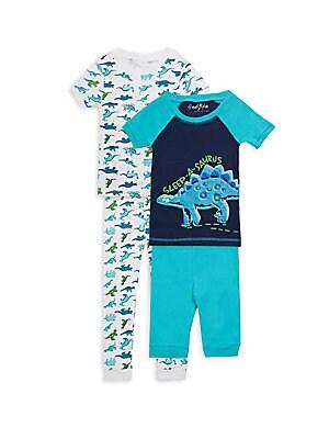 Little Boys FourPiece SleepASaurus Cotton Pajama Set