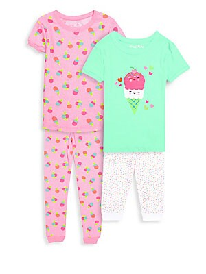 Little Girls FourPiece I Scream Cotton Pajama Set