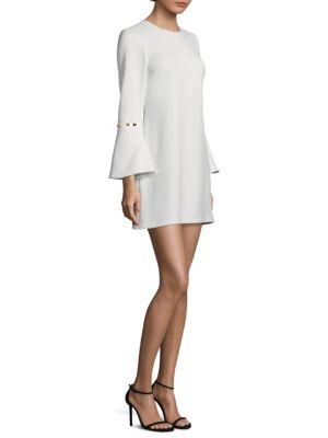 Shoshanna Metallic Bell Sleeve Shift Dress