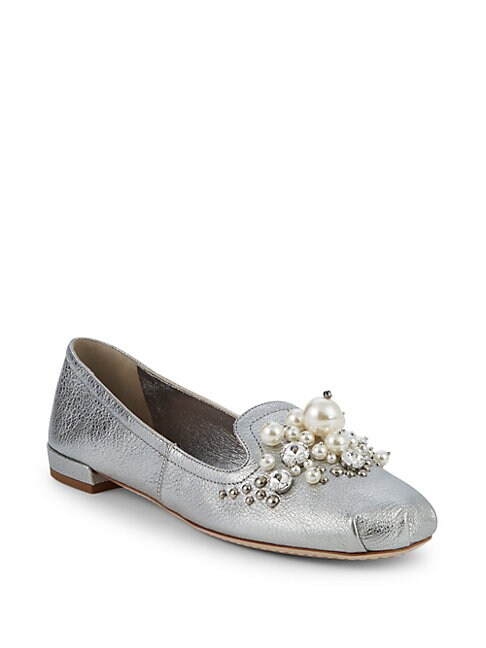 Pearl Embellished Metallic Loafers