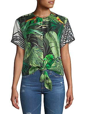 Afro Printed Tie-Front Silk Top