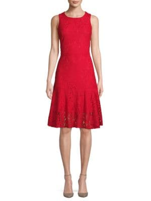 Abs By Allen Schwartz Floral Lace A-Line Dress