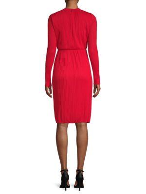 MAX MARA WOMAN PLISSÉ-JERSEY DRESS RED