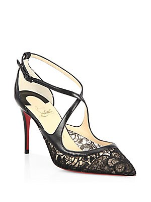 uk availability 25378 2e881 Christian Louboutin - Twistissima 85 Guipure Lace & Leather ...