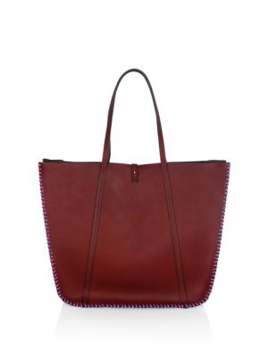 LACONTRIE Feuillade Leather Tote Bag in Bordeaux