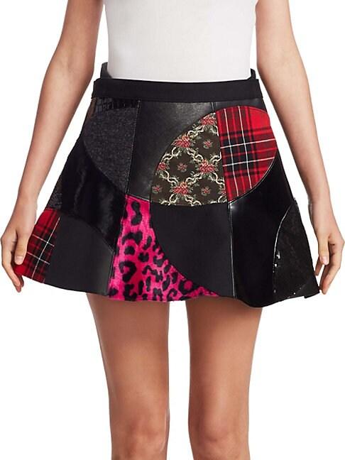 Patchwork Faux Fur Mini Skirt, Black White