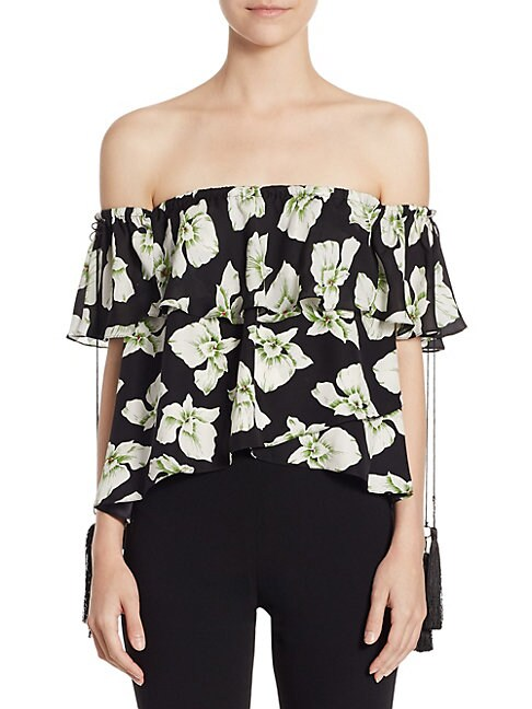 Kahlia Wales Silk Floral Off-The-Shoulder Top