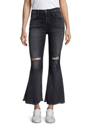 Higher Ground Distressed Crop Flare Jeans in Black