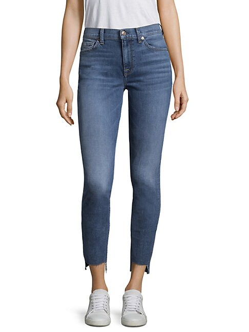 7 FOR ALL MANKIND | High-Waist Stepped Hem Skinny Jeans | Goxip