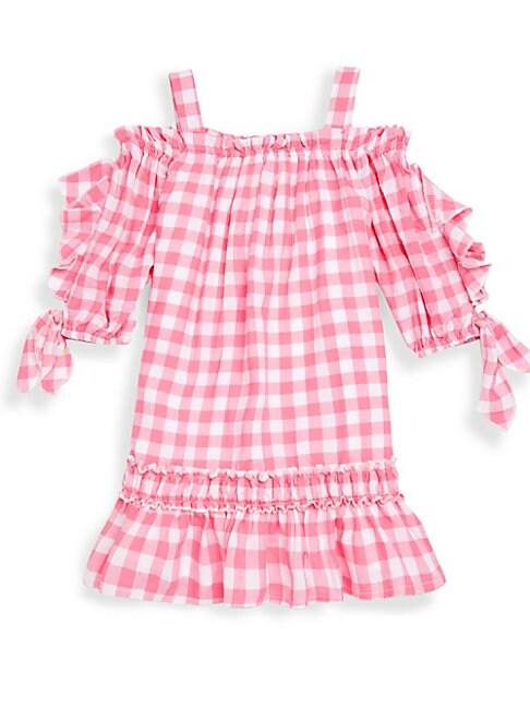 Little Girl's Gingham Off-The-Shoulder Top