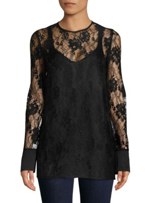 LANVIN Long-Sleeve Lace Top