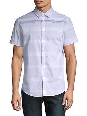 Striped Short-Sleeve Cotton Button-Down Shirt