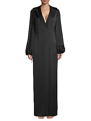 Puffed-Sleeve Long Gown